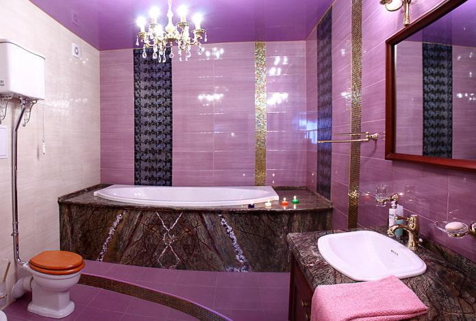 отделка ванной в лиловых тонах