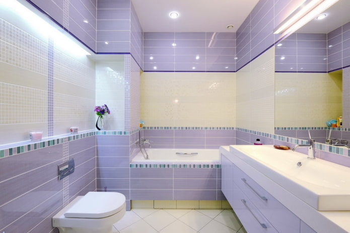 сиреневая отделка ванной