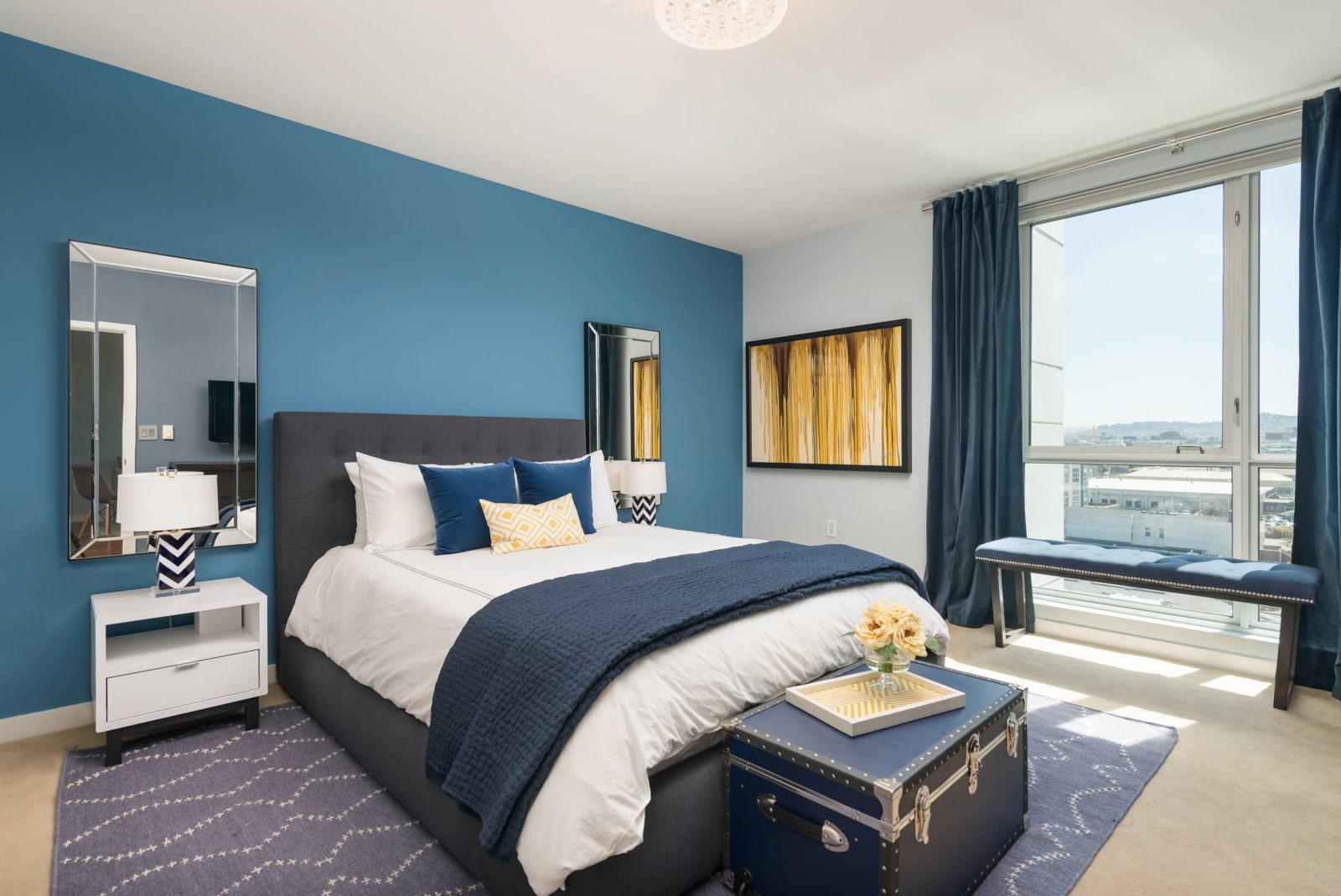 того, дизайн спальни серо синий фото допросе