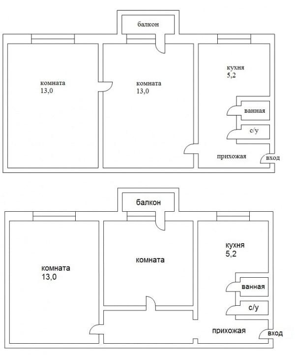 Перепланировка с проходной комнатой