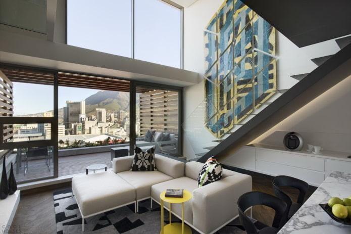 дизайн интерьера двухъярусной квартиры
