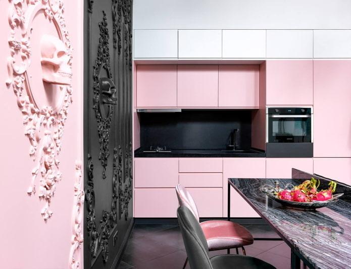 Черно-розовая однорядная кухня