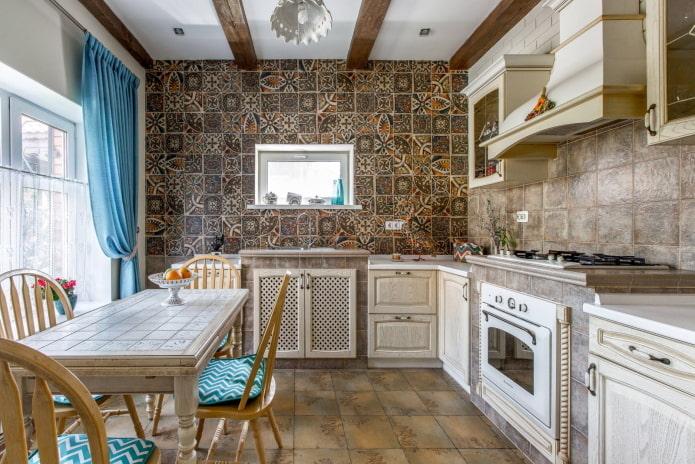 L-образная кухня в стиле прованс