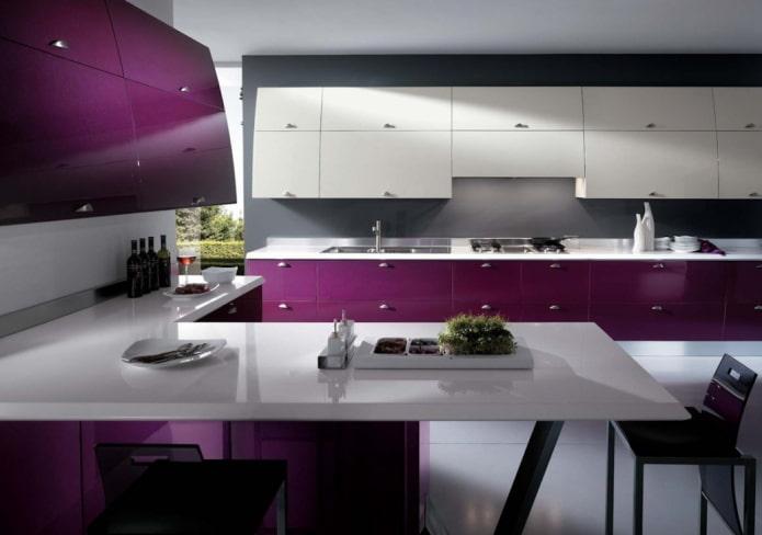 кухня в фиолетовых тонах в стиле хай-тек