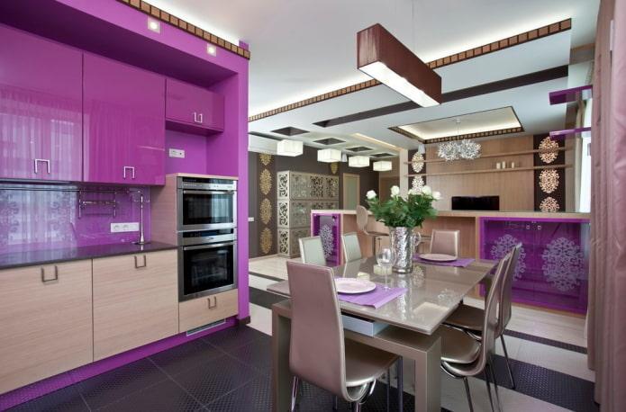 кухня в фиолетовых тонах в стиле арт-деко
