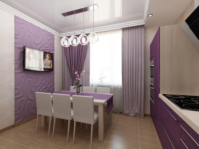 шторы в интерьере кухни в фиолетовых тонах