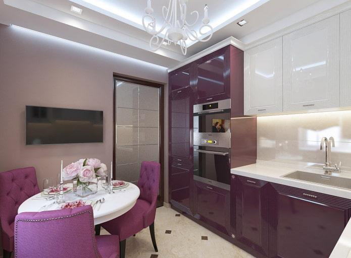меблировка в интерьере кухни в фиолетовых тонах