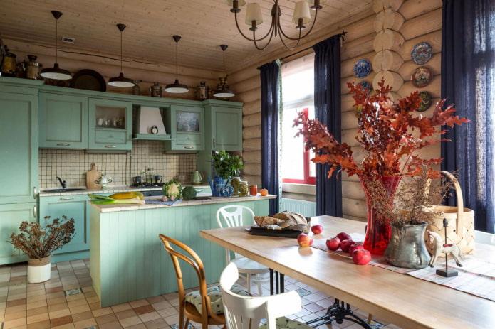 дизайн кухни в интерьере бревенчатого дома