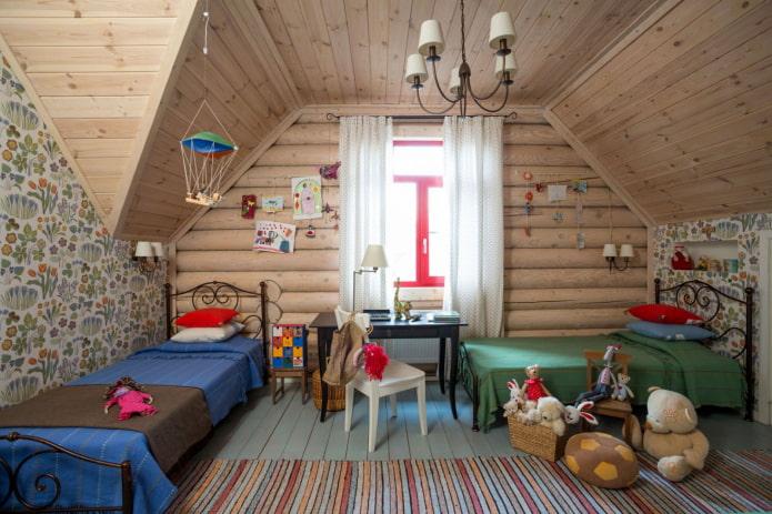 дизайн детской в интерьере бревенчатого дома