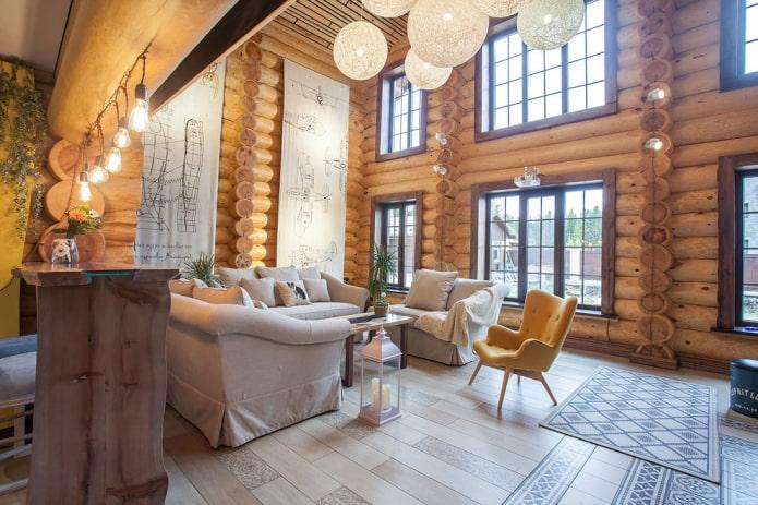 освещение в интерьере бревенчатого дома