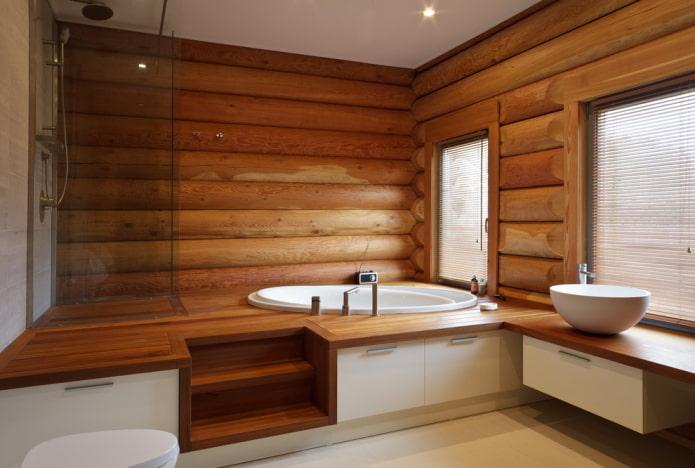 дизайн ванной в интерьере бревенчатого дома