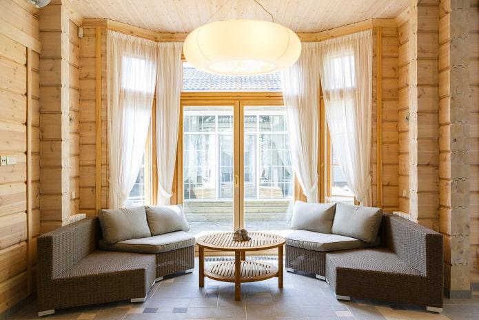 дизайн гостиной в интерьере бревенчатого дома