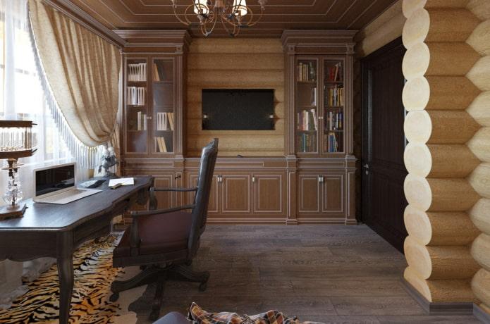 дизайн кабинета в интерьере бревенчатого дома