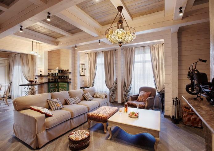 гостиная в доме из бруса