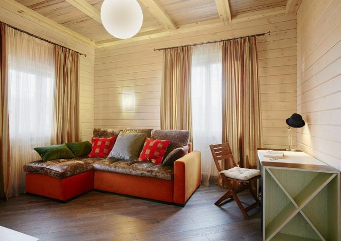 текстиль в интерьере брусового дома