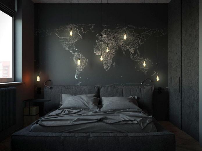 декор и освещение в спальне в черных тонах