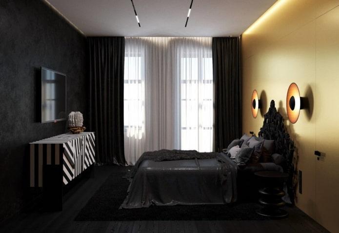 отделка спальни в черных тонах