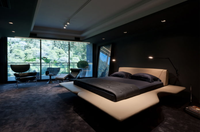 спальня в черных тонах в стиле хай-тек