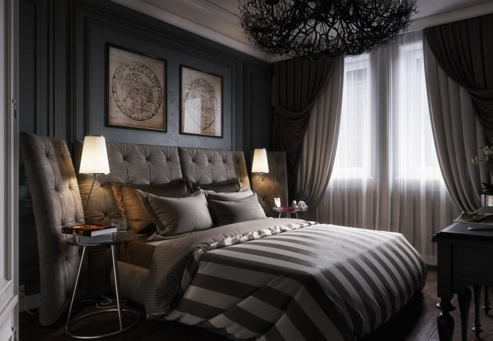 спальня в черных тонах в стиле арт-деко