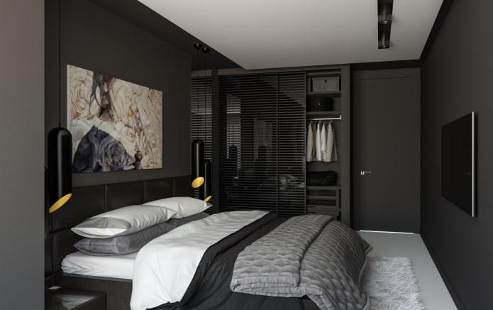 спальня в черных тонах в современном стиле
