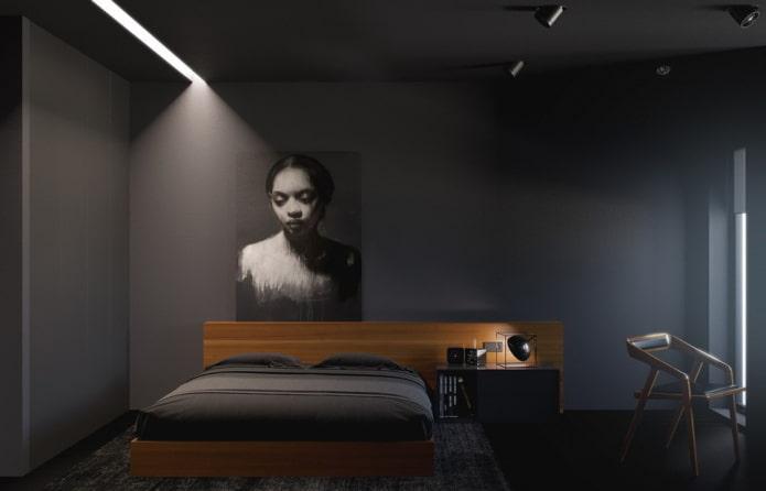 спальня в черных тонах в стиле минимализм
