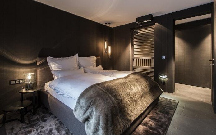 дизайн интерьера спальни в черных тонах