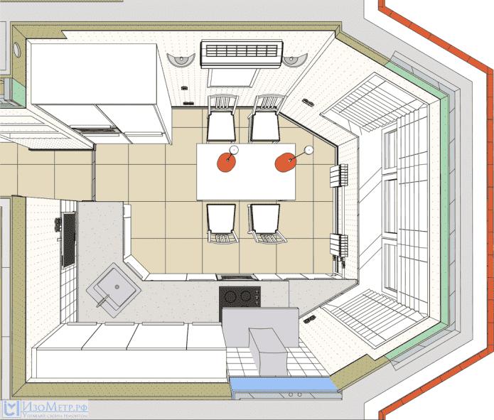 планировка кухни с эркером