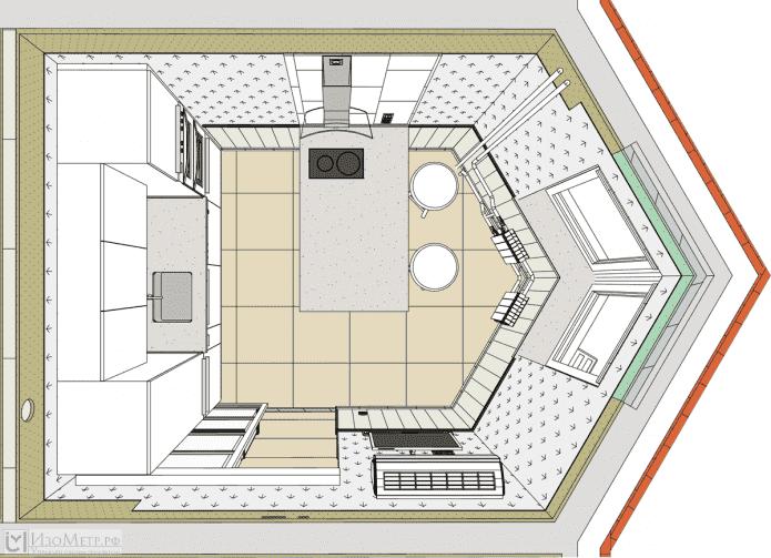 планировка кухни с треугольным эркером