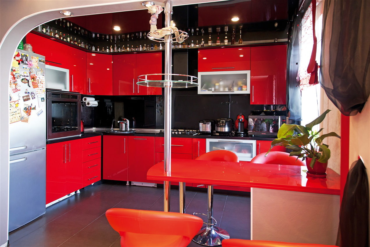 самые красивые кухни красные фото плохой теплопроводности пластика
