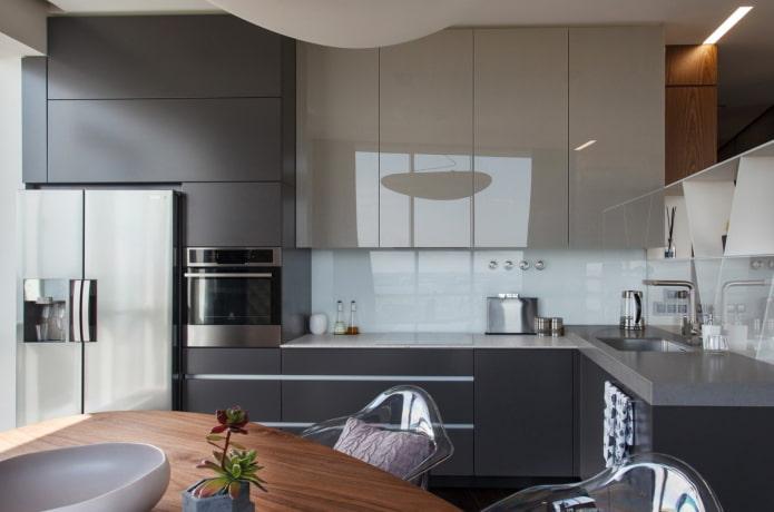 гарнитур в интерьере кухни в стилистике модерн