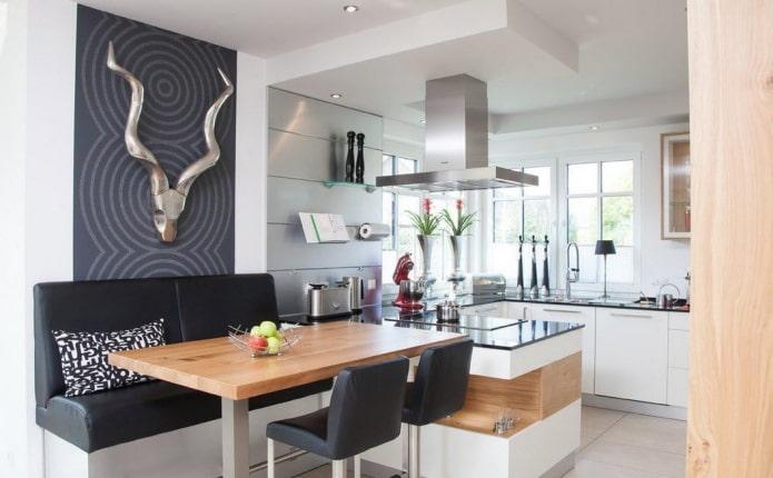 дизайн обеденной группы на кухне в стилистике модерн