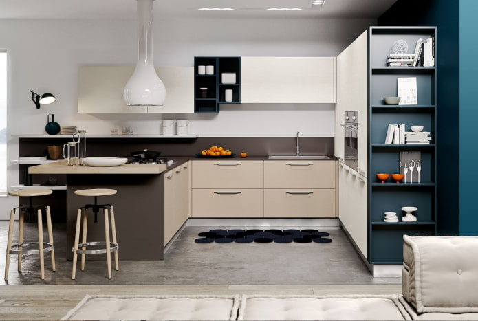 системы хранения на кухне в стилистике модерн