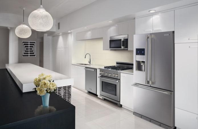 бытовая техника в интерьере кухни в стилистике модерн