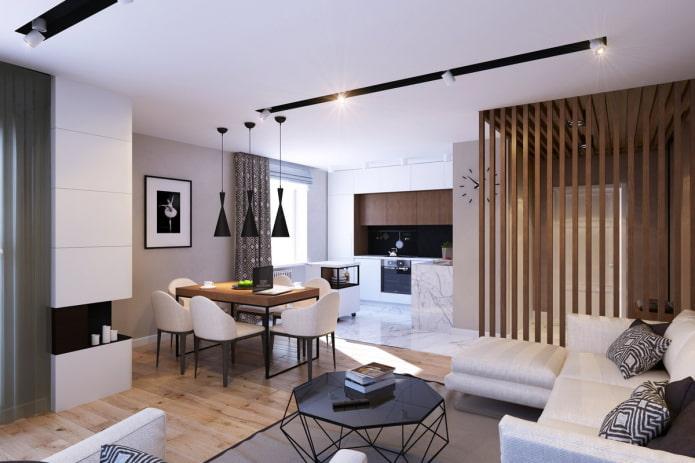 интерьер кухни-гостиной в стиле модерн