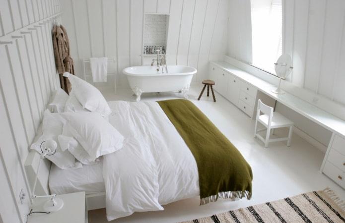 ванная-спальня с наливным полом