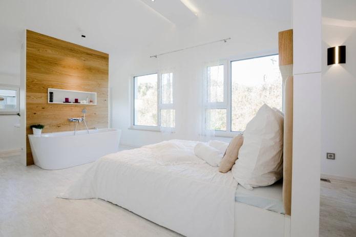 Ванная в минималистичной спальне