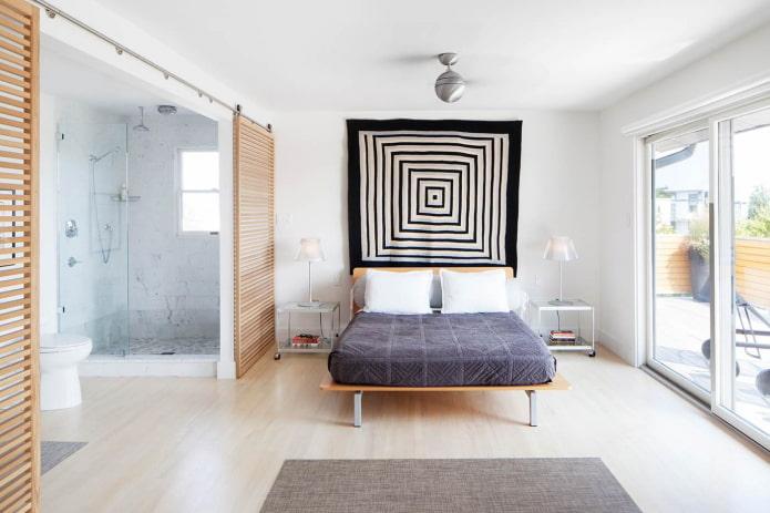 Душевая в скандинавской спальне
