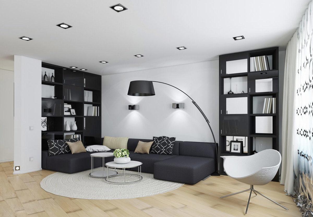 дизайн гостиной в черно белых тонах фото данному