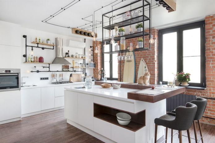 остров в интерьере кухни в стиле лофт