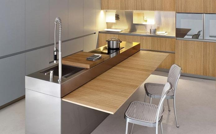 остров с обеденным столом в интерьере кухни