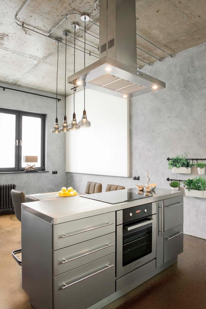 остров с варочной панелью в интерьере кухни