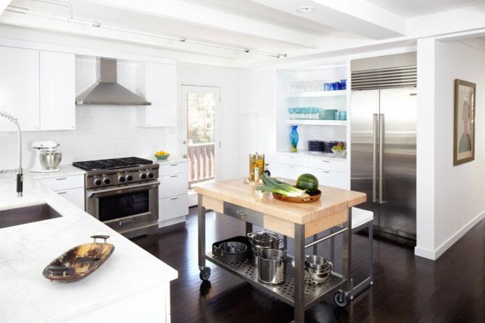 остров на колесиках в интерьере кухни