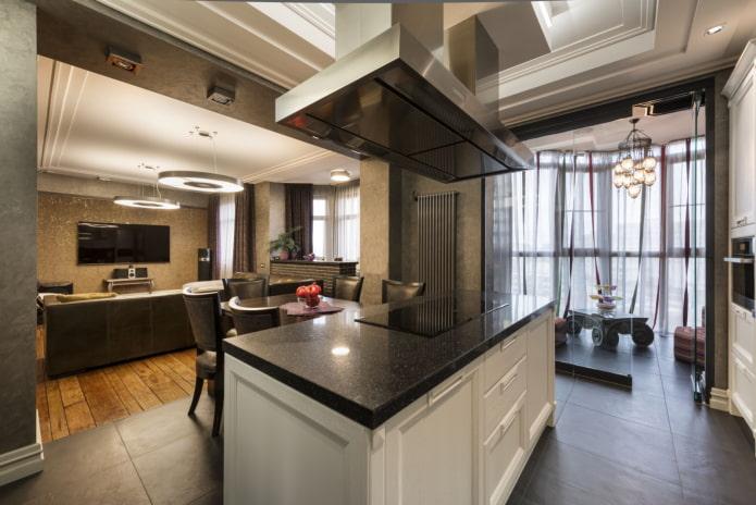 планировка кухни-гостиной с островным элементом