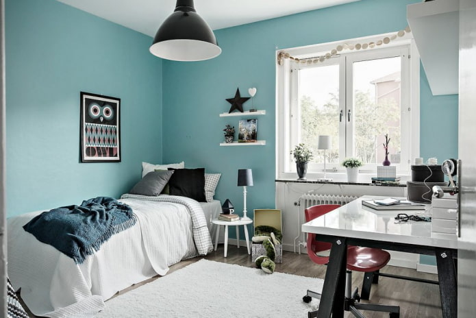 Голубой и синий в интерьере детской: 60 фото, идеи дизайна