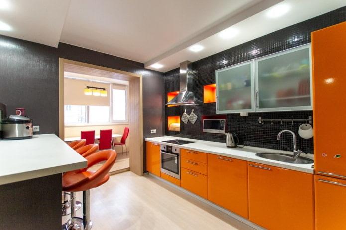 отделка кухни в оранжевых тонах