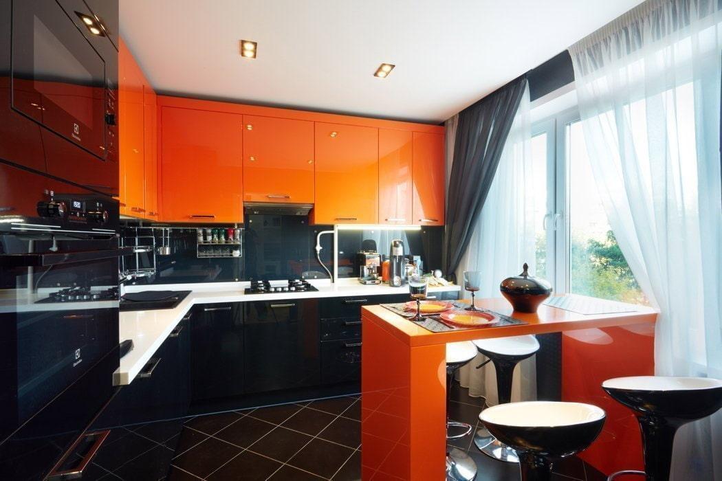 любом черно оранжевые кухни фото расположен