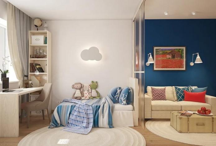 Дизайн детской комнаты прямоугольной формы