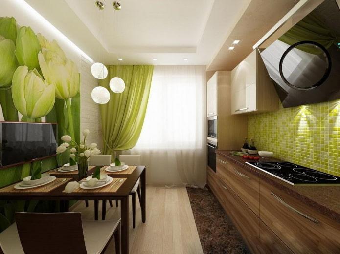 интерьер кухни в зелено-коричневых тонах