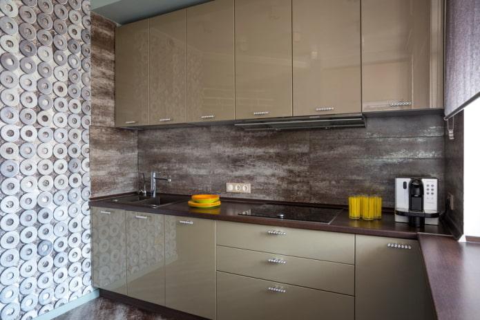 интерьер кухни в светло-коричневых тонах
