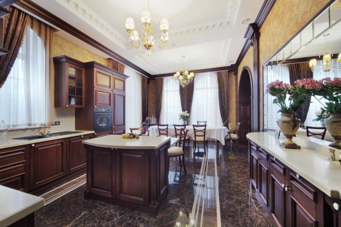интерьер кухни в темно-коричневых тонах